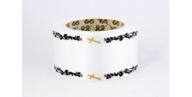 """PP FUNERAL PRINTED RIBBON WITH """"CROSS"""" PATTERN"""