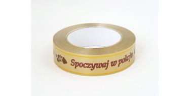 """PP FUNERAL RIBBON WITH INSCRIPTION """"SPOCZYWAJ W POKOJU"""" WITH GOLDEN STRIPES"""