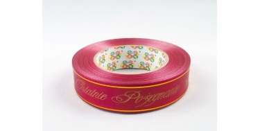 """PP FUNERAL RIBBON WITH INSCRIPTION """"OSTATNIE POZEGNANIE"""" WITH GOLDEN STRIPES"""