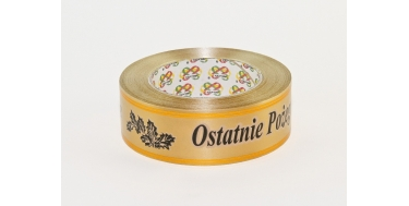 """PP FUNERAL RIBBON WITH INSCRIPTION """"OSTATNIE POZEGNANIE"""" WITH GOLDEN STRIPES - PATTERN 3"""