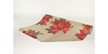 """DECORATIVE CORRUGATED WRAPPING PAPER WITH """"POINSETTIA"""" PATTERN"""