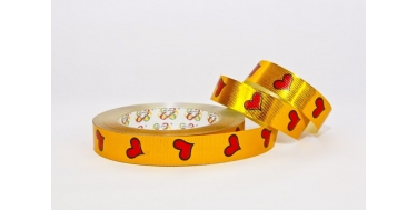 """PP METALLIC PRINTED RIBBON WITH """"HEARTS 2"""" PATTERN"""