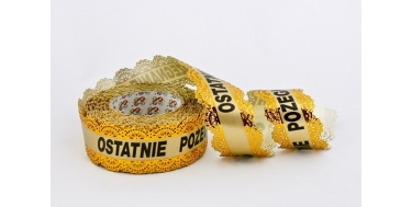 "PP FUNERAL RIBBON ""LACE"" WITH INSCRIPTION ""OSTATNIE POZEGNANIE"""