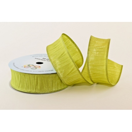 """WIRED EDGE """"CRUSHED IN WIDTH"""" SATIN RIBBON"""