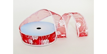 "WIRED EDGE PRINTED FABRIC RIBBON WITH ""ROSES"" PATTERN"