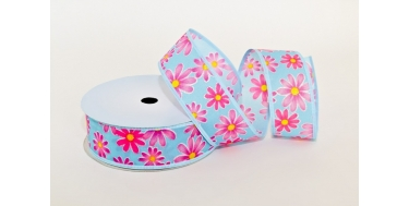"WIRED EDGE PRINTED FABRIC RIBBON WITH ""FLOWER"" PATTERN"
