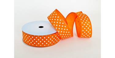 "WIRED EDGE PRINTED FABRIC RIBBON WITH ""SMALL DOTS"" PATTERN"