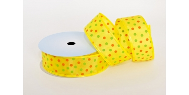 "WIRED EDGE PRINTED FABRIC RIBBON WITH ""COLOURFUL DOTS"" PATTERN"