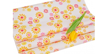 """DECORATIVE CORRUGATED WRAPPING PAPER WITH """"COLORFUL FLOWERS"""" PATTERN 50cm/10m"""