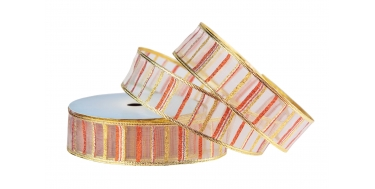 """WIRED EDGE WOVEN METALLIC RIBBON WITH """"CROSSWISE STRIPES"""" PATTERN 4cm/10m"""