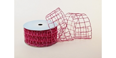 """WOVEN RIBBON - DECO MESH (NET) WITH """"BIG SQUARES - TWO COLOURS"""" PATTERN"""